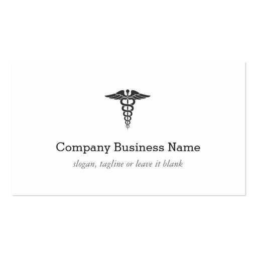 Professional Medical Caduceus Logo Modern Stylish Business Cards (back side)