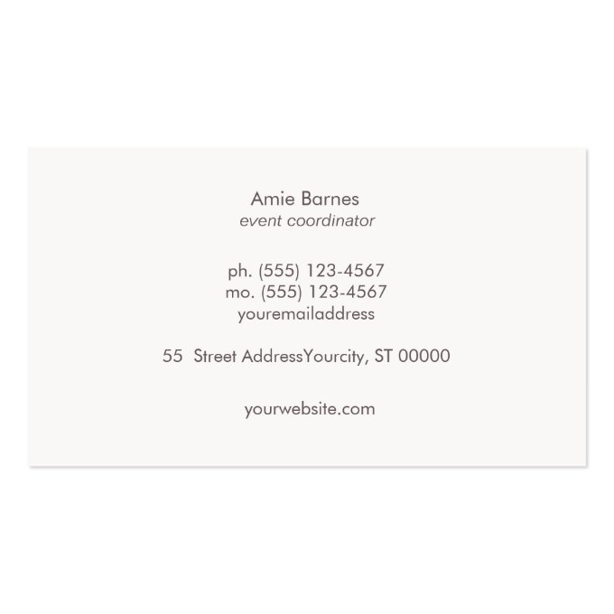 Stylish Bokeh and Rose Gold sequin Event Planner Business Card (back side)