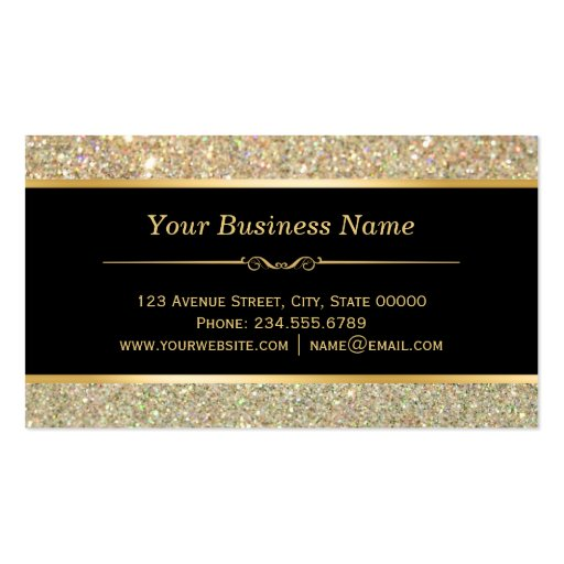 Wedding Event Planner - Sassy Beauty Gold Glitter Double-Sided Standard Business Cards (Pack Of 100) (back side)