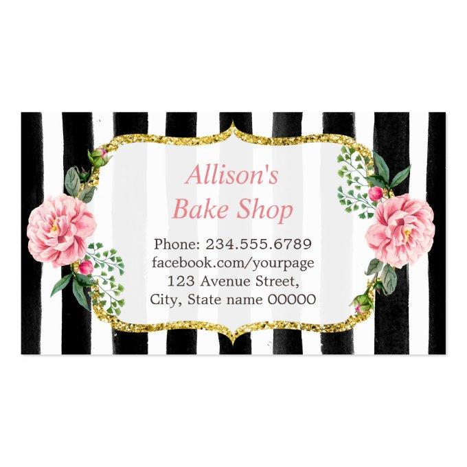 Wedding Cake Design Gold Pink Floral Striped Business Card (back side)
