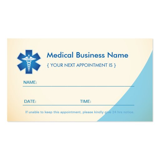 Medical Appointment Card - Medical Symbol Caduceus Business Card Templates (back side)