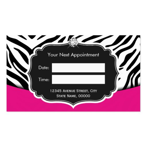 Fashionable Pink Black Zebra Print Appointment Business Card (back side)