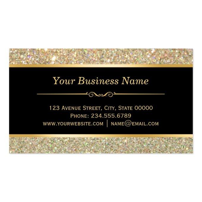 Makeup Artist Hair Stylist Funky Gold Glitter Business Card (back side)
