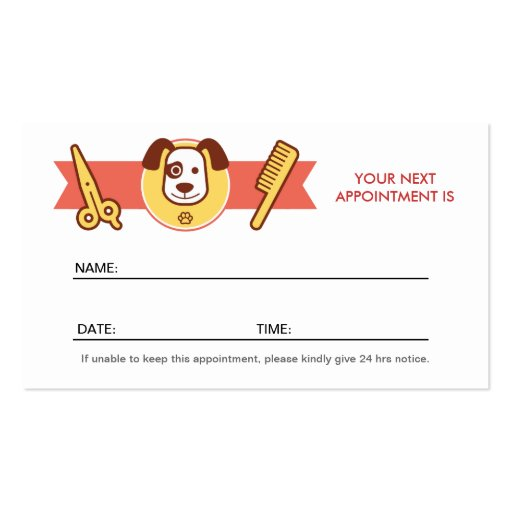 Dog Spa Salon - Appointment Card Business Card Template (back side)