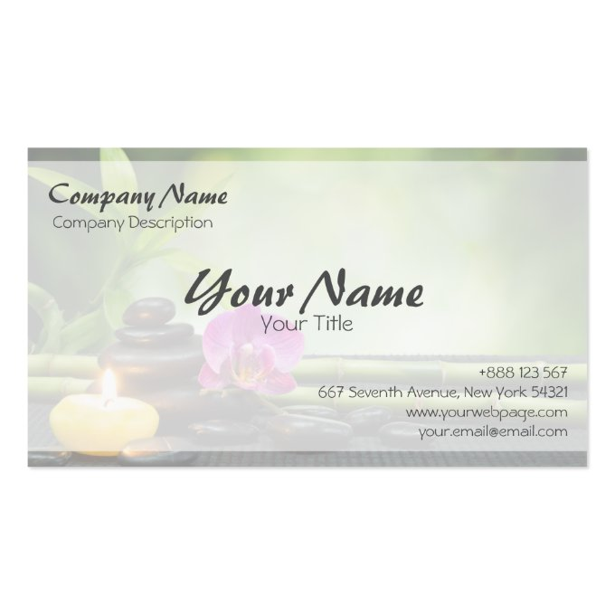 Bamboo Candle Stone Orchid Spa Massage Therapy Business Card (back side)