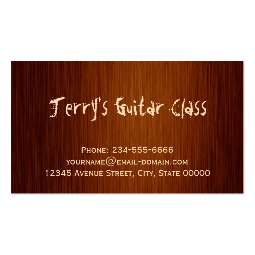 Guitarist Guitar Player Teacher Stylish Wood Look Business Card Templates (back side)
