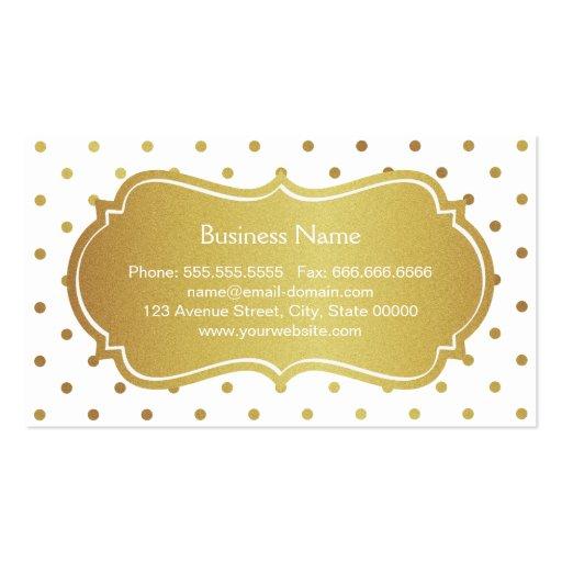 Dressmaker Thread Ball Knitting - White Gold Dots Business Card Template (back side)