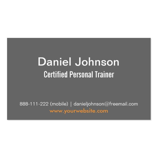 Gray Modern Fitness Personal Trainer Weights Double-Sided Standard Business Cards (Pack Of 100) (back side)