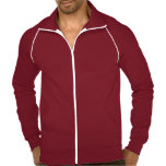 """<p>This best-selling California Fleece track jacket by American Apparel is extra thick for added warmth, yet it's breathable. Stay comfortable while walking, jogging, or hanging out outside with this jacket made of 100% extra soft ringspun combed cotton. Customize to make it your own!</p> <p>Size & Fit<p> <ul> <li> Model is 6'1"""" and wearing a large</li> <li> Slim fit</li> <li> Garment is unisex</li> </ul> <p>Fabric & Care</p> <ul> <li> 100% California Fleece cotton construction</li> <li> Raglan sleeves and a kangaroo pocket</li>  <li> Contrast white piping and nylon zipper (zips to top of collar)</li> <li> Made in the USA</li> <li> Machine wash cold</li> </ul>"""
