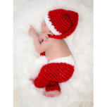 """White Accented Crochet Christmas Santa Baby Outfit<br><div class=""""desc"""">Simply adorable newborn Christmas outfit - a perfect photo prop for your baby's photo shoots. Have your newborn bundle of joy's photo taken in his or her very own classic styled Santa suit with accents of white.</div>"""