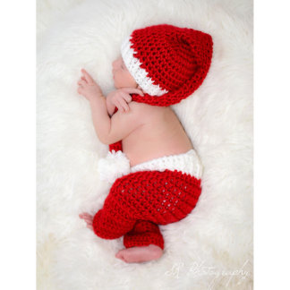White Accented Crochet Christmas Santa Baby Outfit