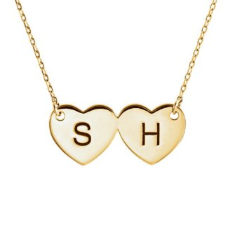 14 Karat Gold Double Heart Initial Necklace