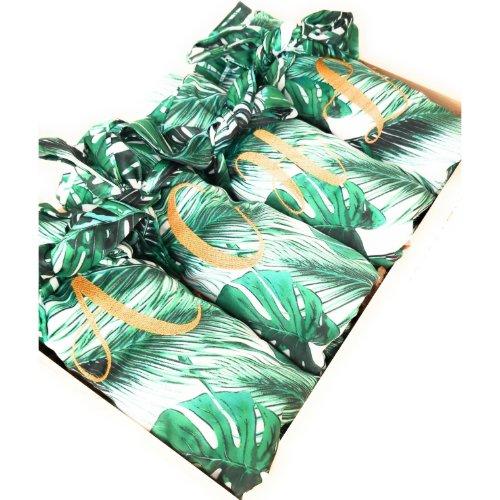 Elegant Tropical Palm Leaf Monogram Satin Robes