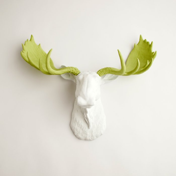 White faux moose head with mint green antlers zazzle - Fake moose head ...