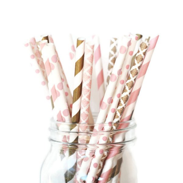 25pk of Pink and Gold Vintage Chic Paper Straws