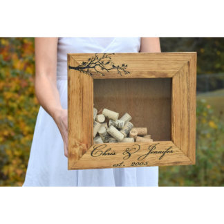 Personalized Love Birds Rustic Wine Cork Holder