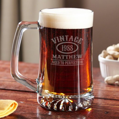 Aged to Perfection Engraved Thick Glass Beer Mug