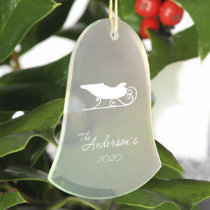 Merry Sleigh Beveled Bell Shape Glass Ornament