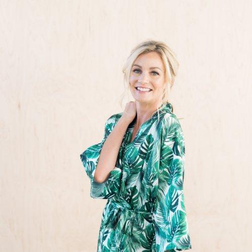 Modern Tropical Palm Leaf Kimono Bridal Robe