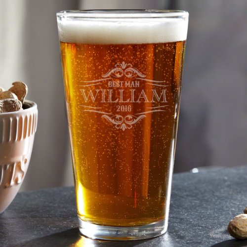 Beauitfully Engraved Wilshire Pint Glass