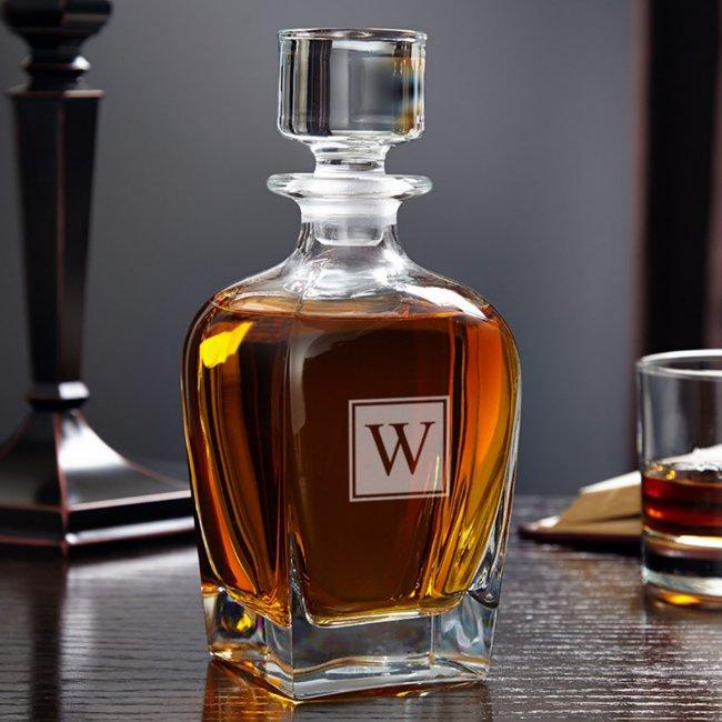 Engraved Block Monogram 28 oz. Whiskey Decanter