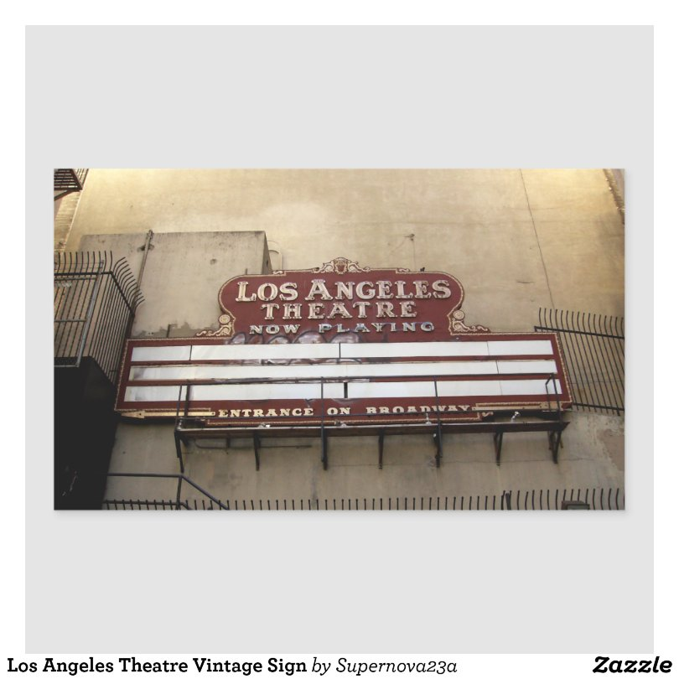 Los Angeles Theatre Vintage Sign Rectangular Sticker