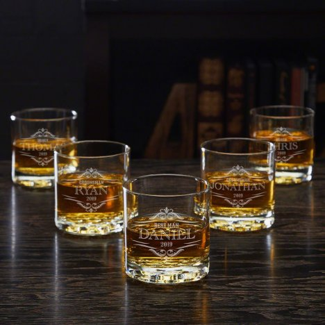 Set of 5 Engraved Buckman Whiskey Glasses
