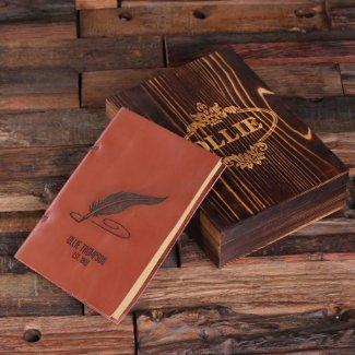 Feather Pen Gift Set: Gift Box and Leather Journal