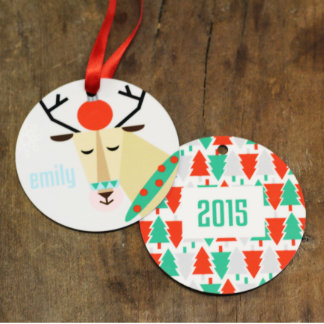 Personalized Round Holiday Reindeer Ornament