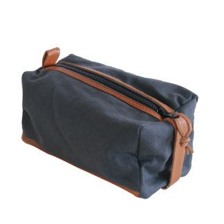 Charcoal Canvas and Leather Dopp Kit
