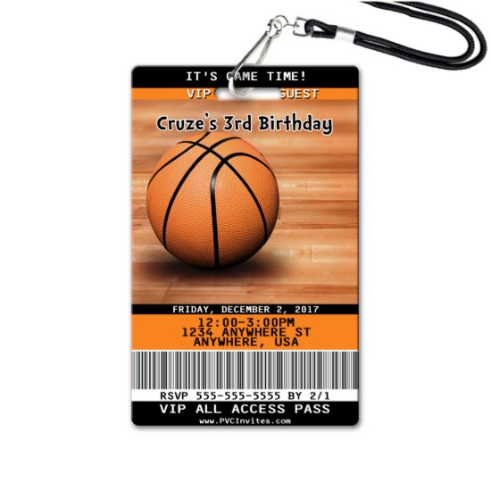 Basketball VIP Birthday Invitations (VIP Pass)