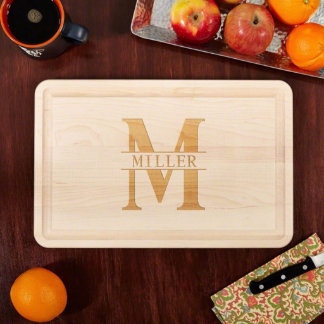 Large Family Name Engraved Wood Cutting Board