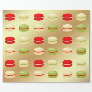 Red Green White on Gold Christmas French Macarons Wrapping Paper