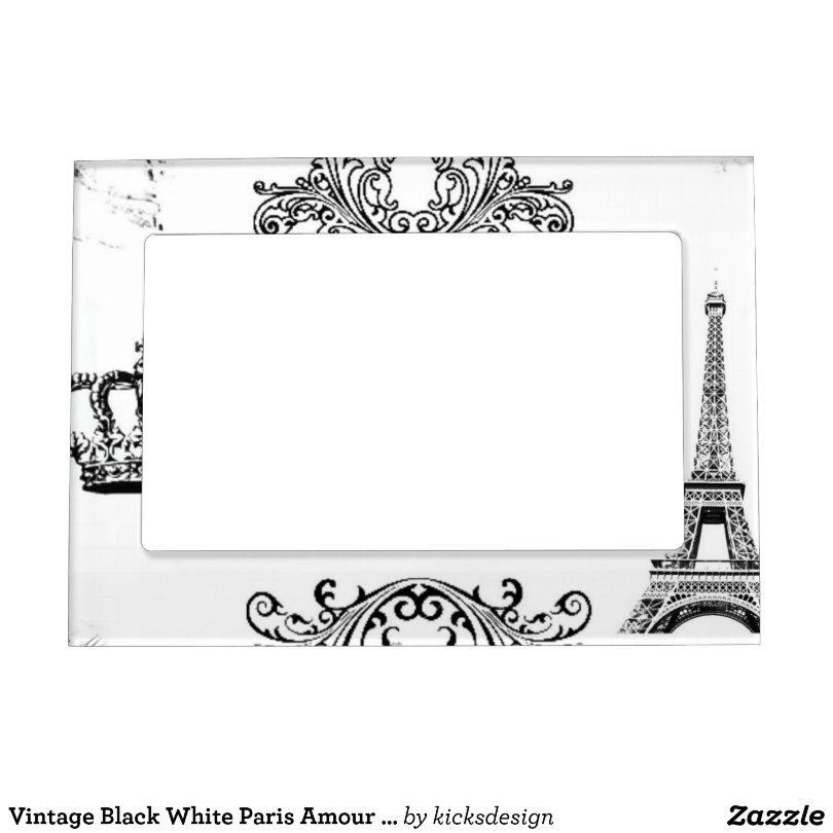 Vintage Black White Paris Amour Eiffel Tower Magnetic Photo Frame