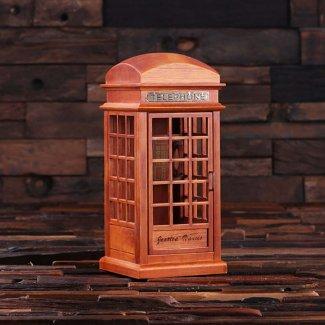 Personalized British Phone Booth Music Box