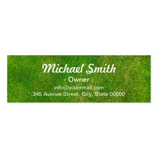 Mowing Lawn Care Green Grass Field Mini Card Double-Sided Mini Business Cards (Pack Of 20) (back side)
