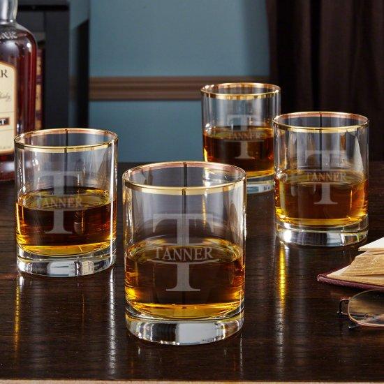Set of 4 Oakmont Gold Rim Whiskey Glasses