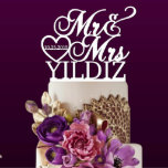 """Personalized Wedding Couple Cake Topper<br><div class=""""desc"""">Each topper is laser cut from 1/8 inch thick acrylic,  Width: 5""""-6"""" Side to side (The exact height of this topper will depend on what width is chosen and what the last name is used.)Your cake topper will be ready in just one business day.</div>"""