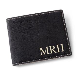 Black Monogrammed Leatherette Wallet