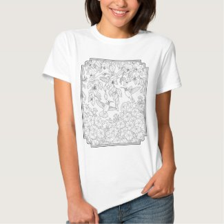 Hummingbirds and Flowers Adult Coloring Page Shirt