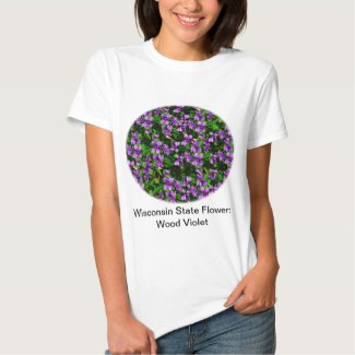 WI State Flower Wood Violet Mosaic Pattern Tee Shirt