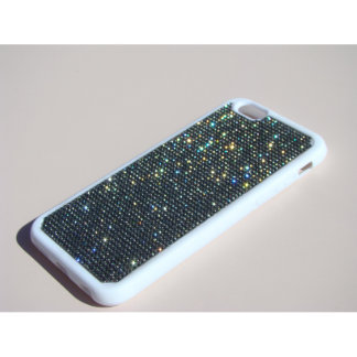 iPhone 6/6s White Rubber Case w/ Black Crystals