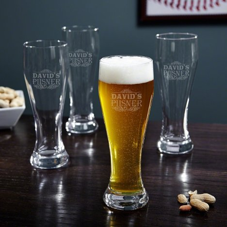 Set of 4 Cassidy Tall Pilsner Beer Glasses