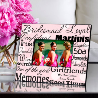 Dots on Pink Personalized Bridesmaid Frame  Picture Frame