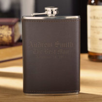 Engraved Stainless Steel Fitzgerald Leather Flask