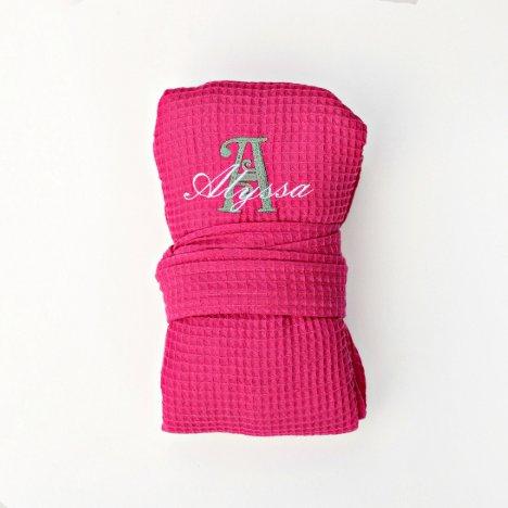 Personalized Bridesmaid Waffle Robe, Hot Pink