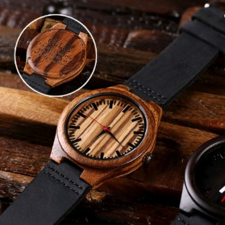 Leather Strap with Engraved Bamboo Watch