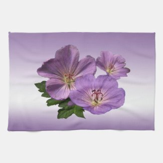 Purple Geranium Flowers Hand Towels