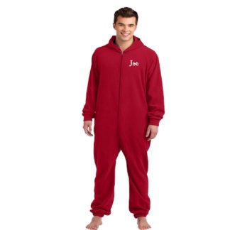 Embroidered Red Fleece Adult One-Piece Pajama