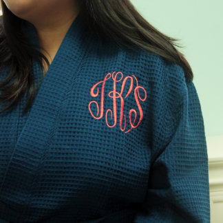 Navy Waffle Robe with Coral Monogram